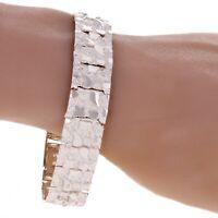 """925 Sterling Silver Nugget Bracelet Adjustable Solid Link 7.75"""" 15mm 32 grams"""