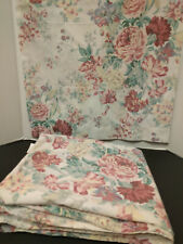 VINTAGE 1 STD PILLOW CASE 1 QUEEN FLAT SHEET MADE IN ISRAEL OFF WHITE FLORAL