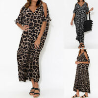 UK 8-26 Women Cold Shoulder Leopard Maxi Dress Ladies Short Sleeve Beach Dresses