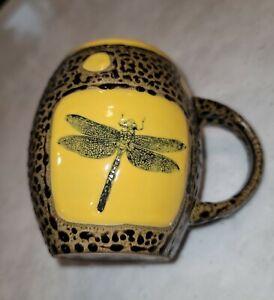 "Always Azul Pottery Mug Dragonfly Yellow Coffee Tea Cup 12 oz 4"" Colorado USA"