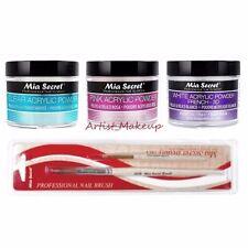 Mia Secret Acrylic Nail Powder White Pink Clear 2oz Set +2 Kolinsky Brushes NB16