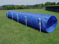 Dog Agility Tunnel with Stakes 14' long, 6 J-Metal Stakes, Royal Blue