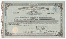 Switzerland, Emprunt du Canton de Fribourg, 15 Francs 1902, Obligation