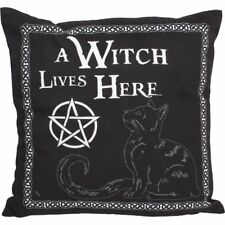 Nemesis Now a Witch Lives Here Cushion 40cm Black Cat Gothic Alternative