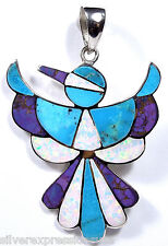 Multicolor & White Fire Opal Inlay 925 Sterling Silver Thunderbird Pendant