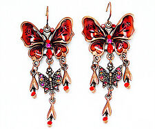 "ICON 2.5"" RED MULTI COLOR CRYSTAL ENAMEL DROP BUTTERFLY HOOK GOLD EARRINGS NEW"