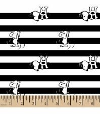 Peanuts Snoopy Black and White Striped Flannel Fabric ~ 42 x 17 remnant