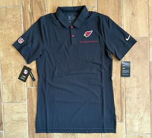 New Mens Nike NFL Arizona Cardinals On Field Polo Shirt Football Black Sz S