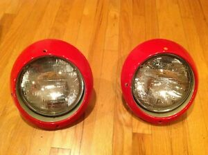 Pair Porsche 911 912 930 US Spec Headlight Assemblies w/ Trim Ring Guards red