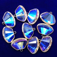 6Pcs  Wrapped Faceted White Multicolor Crystal Fan-shaped Pendant Bead NN1414