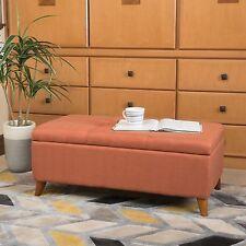 Etoney Contemporary Fabric Storage Ottoman, Orange
