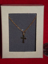 """18"""" GOLD NECKLACE with CROSS PENDANT - TOP QUALITY-  EASTER COMMUNION GIFT"""