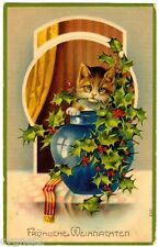 POSTCARD GERMAN 1909 CHRISTMAS CAT WITH HOLLY