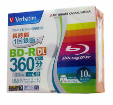 10 Verbatim Blu Ray DVD Video 50GB BD-R DL Blank Media Bluray Disk Printable