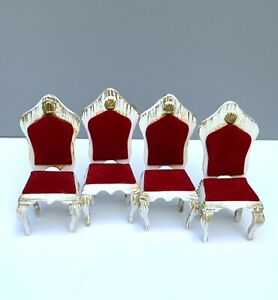 1:12 MINIATURE SET 4 WOODEN CHAIRS RED VELVET CHADWICK MILLER FRENCH PROVINCIAL
