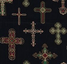 Michael Miller Gothic Jewel Crosses Red Green & Gold on Black Cotton Fabric - FQ