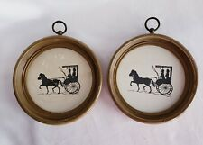 """Lot of 2 Vintage Round Framed Horse and Buggy Carriage Silhouette Pictures 6"""""""
