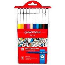 Caran d'Ache Fibre Felt Tipped Pens 10 Colour Wallet Water Soluble For School