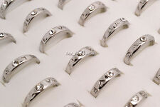 10ps Wholesale Jewelry Lots Mixed Style Love Rhinestone Silver Plated Rings FREE