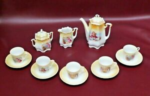 Vintage German Porcelain Childs Tea Set - Teapot, Cream, Sugar, 5 Cups & Saucers