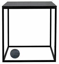 "29"" Tall Set of Two Side Table Night Stand Metal Frame Square Inset Marble Top"