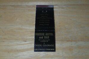 Vintage Creede Hotel and Bar Creede Colorado Matchbook Cover Struck Black Gold