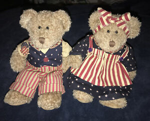 "Vintage Russ Berrie 11"" STARBRITE 100331 & LINCOLN #100332 Patriotic Plush Bears"