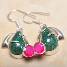 """Handmade Green Natural Chrysoprase 925 Sterling Silver Earrings 2"""" #E00152"""