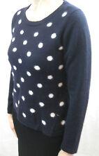 Caroline Sills Size L or 14 Cashmere Navy Polka Dot Pullover Jumper