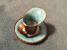 Nekrassoff copper and blue enamel creamer pitcher and underplate