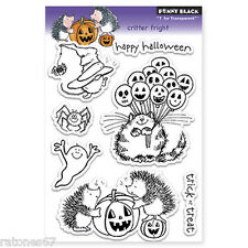 New Penny Black CRITTER FRIGHT Clear Stamps Halloween Hedgy  Jack O' Lantern Cat