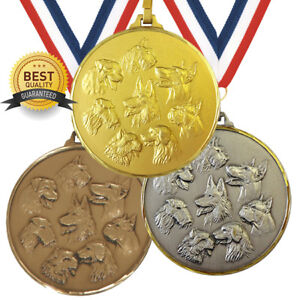 DOG SHOW BRASS MEDAL 52mm BEST QUALITY, FREE RIBBON, 3 COLOURS,