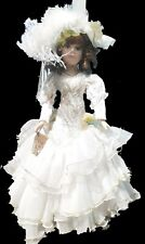 Vintage Victorian Porcelain Doll Feather Hat Dress and Lace Tights. Green eyes.