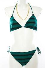 Jo De Mer Green Striped Brunet Two Piece Bikini Size 3 $225 New 031831