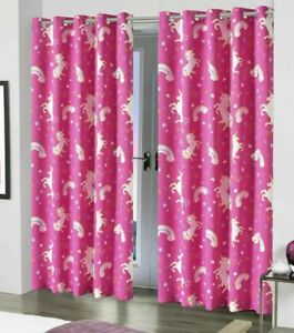 Unicorn Blackout Ready Made Curtains Pair Eyelet Kids Girls Pink Thermal