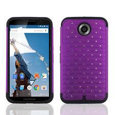FOR MOTOROLA Nexus 6 PURPLE BLACK DIAMOND SKIN CASE COVER + SCREEN PROTECTOR