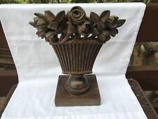 Antique / Vintage Carved Wood Architectural Flowers In Basket Piece