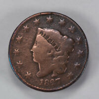 1827 1c CORONET HEAD LARGE CENT, EARLY COPPER COIN LOT#N445