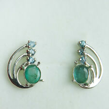 0.85cts Natural Emerald & Zircon 925 Silver 9ct 14k 18k Gold stud earrings