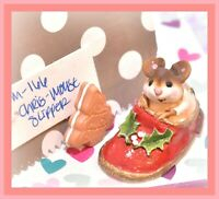 ❤️Wee Forest Folk M-166 Chris-Mouse Slipper Shoe Holiday Christmas Red WFF❤️