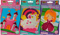 Set Of 3 Make Your Own Glitter Mosaic Craft Kits - Castle, Unicorn, Fairy