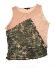 REBECCA BEESON Women's 1 SMALL Brown Green Mix Media Tank Top Shirt Mesh j3