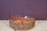PINK DEPRESSION GLASS 3-PART DIVIDED RELISH / CANDY DISH IN ORNATE GOLD CADDY