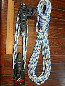 "NEW! HARKEN 60MM ELEMENT 4:1 MAINSHEET, VANG, BLOCK/TACKLE W/40' NEW 3/8"" LINE"