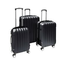 ALEKO 3 Piece Luggage Travel Bag Set ABS Suitcase With Lock Black Color