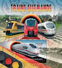 Allemand trains (ICE TD/Regio Navette/BOMBARDIER talent) Timbre feuille/2012 Burundi