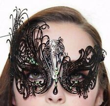 Gorgeous Black Laser Cut Venetian Metal Mask with Green Rhinestones