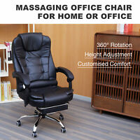 Executive Reclining Office Chair Massage Gaming Chair Swivel w/ Footrest Seat