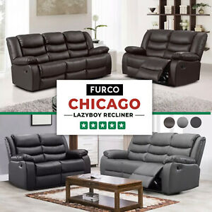 CHICAGO LEATHER SOFA LAZYBOY RECLINER SUITE BLACK BROWN GREY 3+2+1 SEATER SET