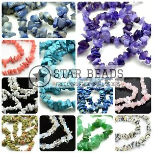 """32-34"""" STRAND SYNTHETIC GLASS GEMSTONE CHIP CRYSTAL 250+ BEADS 4-7MM PICK COLOUR"""